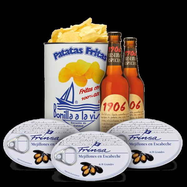 Pack aperitivo de Frinsa, Estrella Galicia y Patatas Bonilla