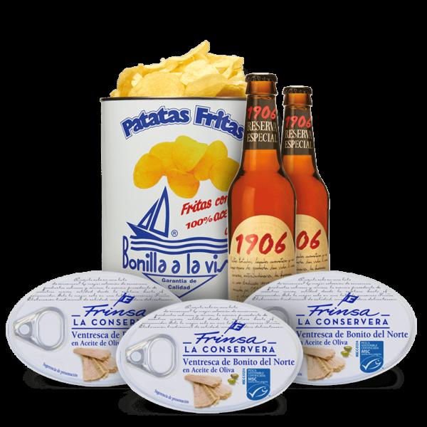 Patatas bonilla con cerveza 1906 y ventresca Frinsa