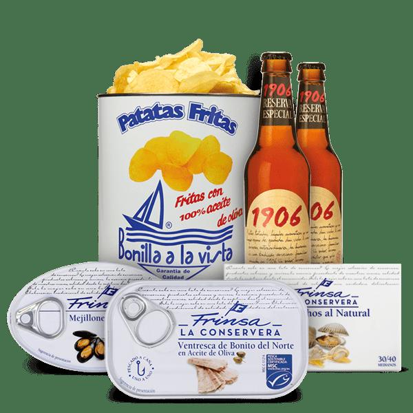 Pack aperitivo conservas, cerveza y patatas