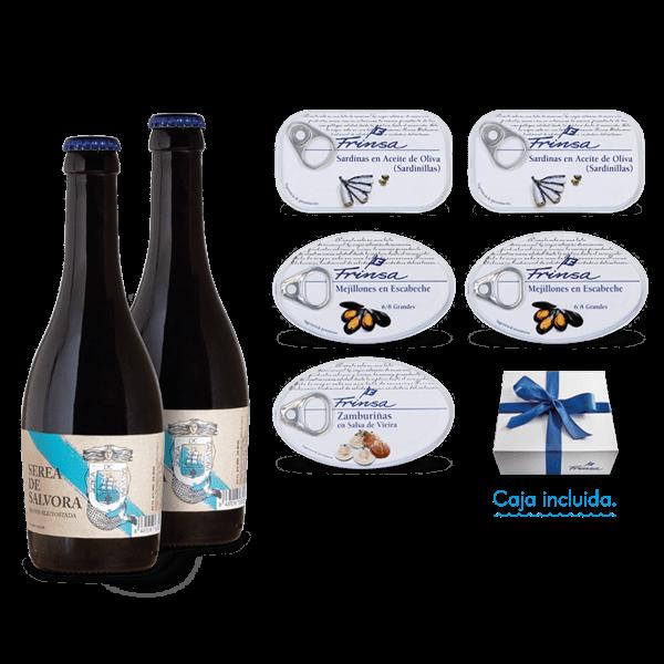 Caja regalo conservas Frinsa y cerveza artesana