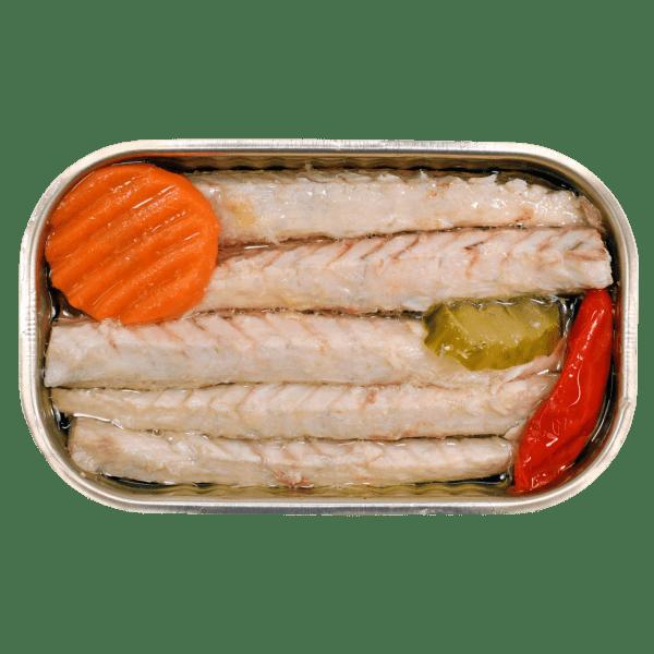 Lata de filetes de caballa picante con encurtidos Minerva