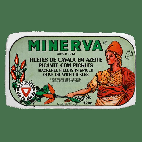 Lata de filetes de caballa picante con encurtidos de Minerva